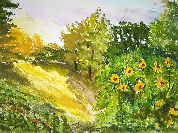 SUNLIGHT BACKYARD PAINTING, Summer Time Painting , Sun Flowers,