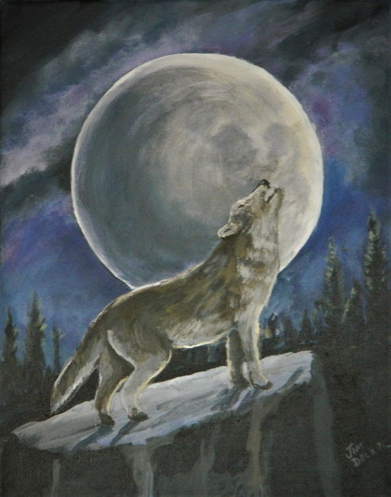 WOLF PAINTING , Wildlife, Moonlight, Sportsman Wolf Art , Jim Decker
