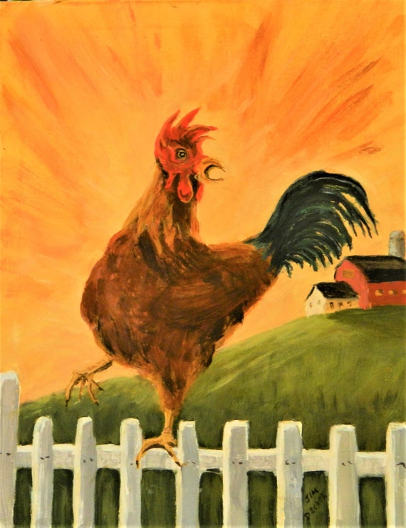 ROOSTER PAINTING  { Time To Get Up  }