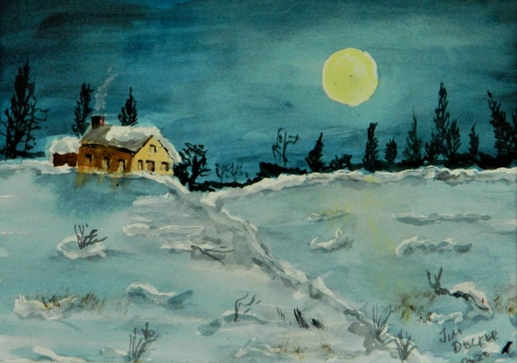 MOONLIGHT Painting  { February Moon } watercolor painting