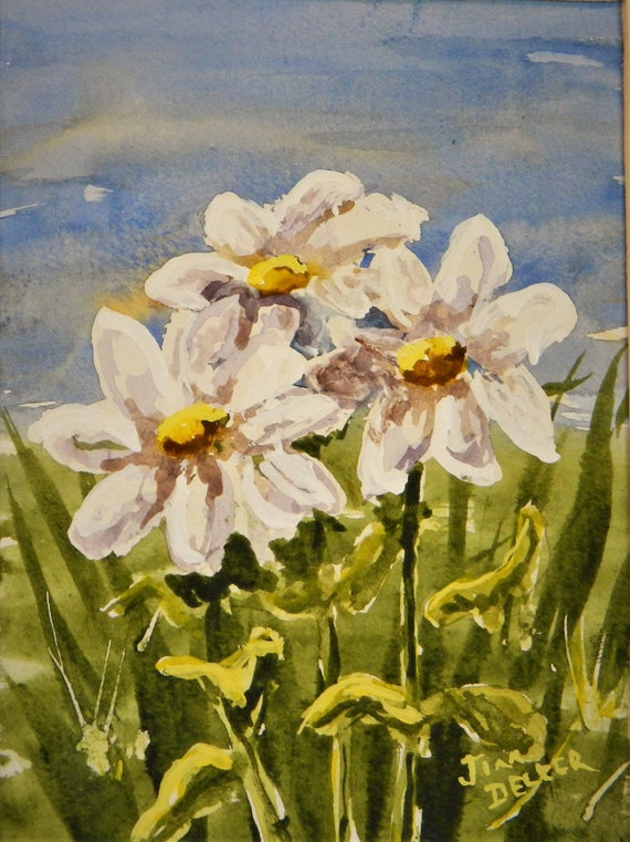 DAISIES , Flowers Spring, Garden , Small painting, Jim Decker