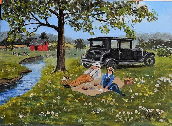 AMERICANA PAINTING , Good Old Summer Time ,Old Car Farm Painting