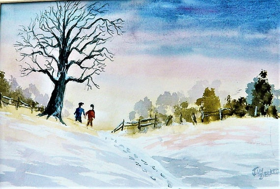 WALK In The SNOW  Cabin Fever , Winter Landscape Original Watercolor 11 x 14 Free Shipping