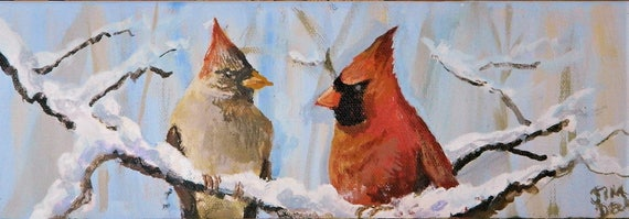 RED CARDINALS  Birds in Snow Winter Landscape Jim Decker