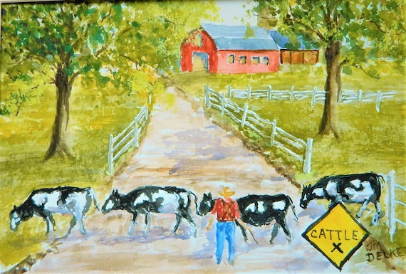 CATTLE CROSSING  Cows Farm Painting Jim Decker