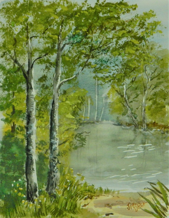 WATERCOLOR LANDSCAPE  PEACE ,Be Still