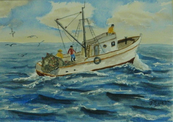 MAINE PAINTING  Lets Go Fishing