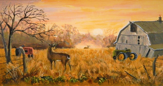 WILDLIFE , Deer, Farm, Sunset, Barn , Tractor original painting on canvas ready to hang 10 x 20 Free Shipping