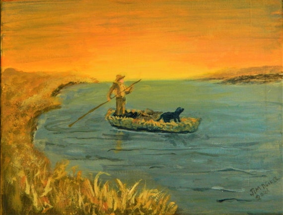DUCK HUNTING PAINTING  Were Are The Ducks