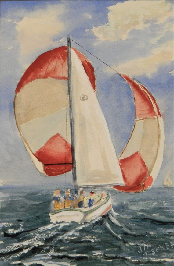 SAIL BOAT Sailing Down Wind  Original Watercolor Painting  by Jim Decker