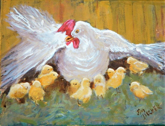 BABY CHICKS  Hen with chicks Chickens Original 9 x 12 by Jim Decker Free Shipping