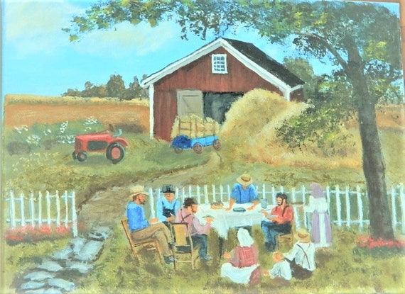 COUNTRY MEMORIES Red Barn Farm Painting Jim Decker