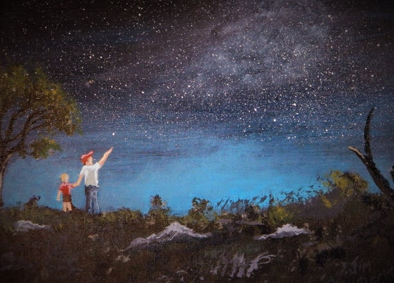 STARLIGHT NIGHT  { Look Up There } Original Acrylic Painting  by Jim Decker Free Shipping