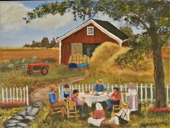 GOOD NEIGHBORS   Nostalgic  Farm Painting
