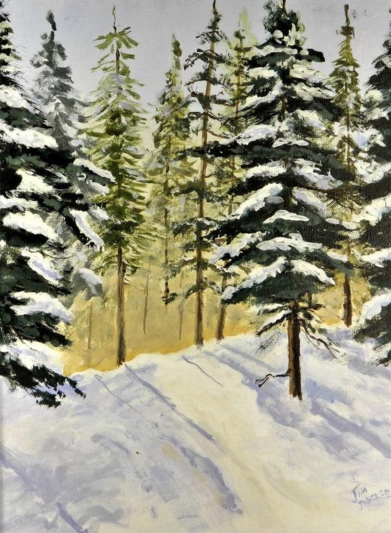 WINTERS SPLENDER  Snow Covered Winter landscape Painting