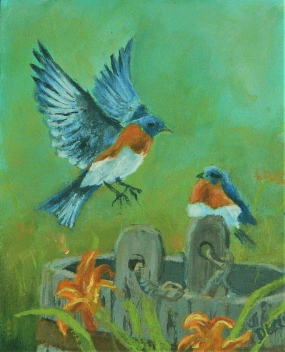 BLUE BIRD original painting 8 x 10 on canvas 50 Free Shipping