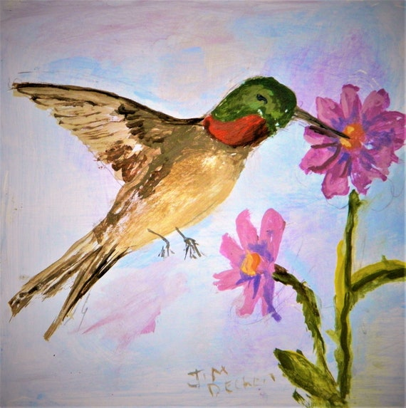 HUMMING BIRD , Small Easel Painting, Colorful Bird, Wild Flowers,  Jim Decker