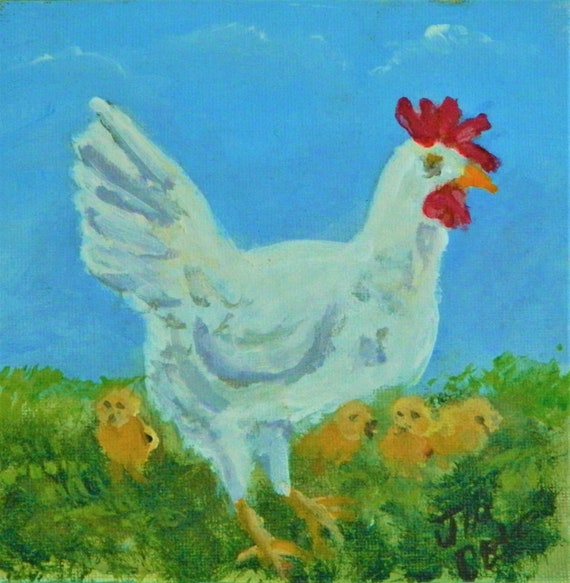 MOTHER HEN With her Chicks Mini Easel Painting
