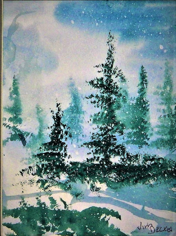 CHRISTMAS TREES In The Snow  Original 8 x 10 watercolor by Jim Decker Free Shipping