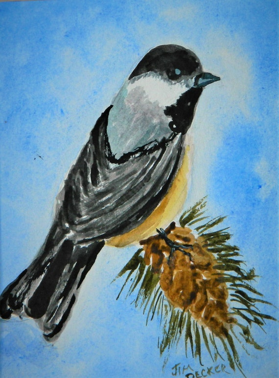 BLACK CAPPED CHICKADEE , Maine State Bird Small Watercolor Painting Jim Decker