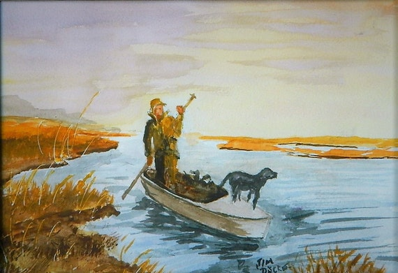 DUCK HUNTING , Where Are The Ducks Sportsmen Painting