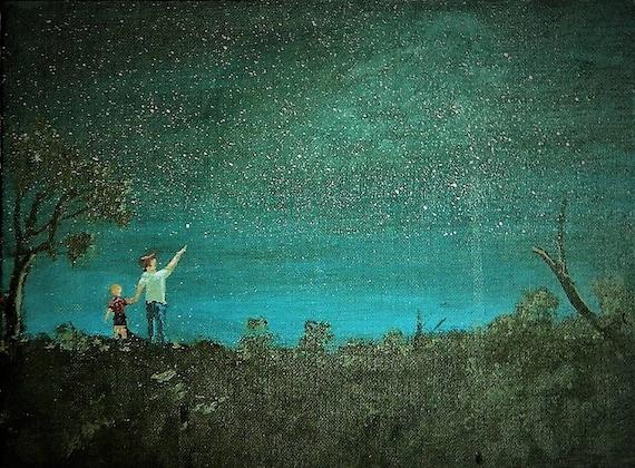 STARLIGHT NIGHT , Look Up there , Night Time Sky, Original Painting