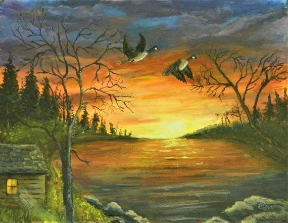 SUNSET Lake Painting