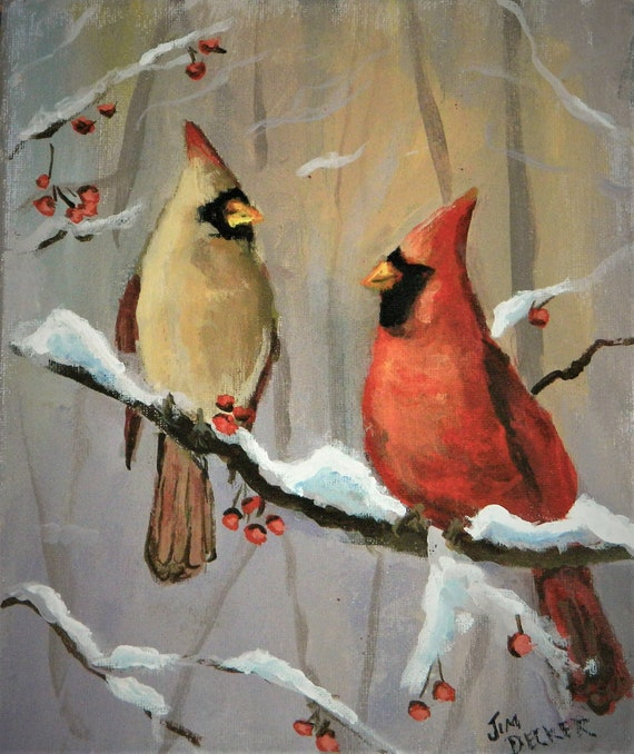 CARDINALS , Original painted on canvas 8 x 10 by Jim Decker Free Shipping
