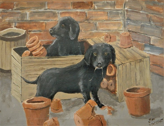 Black Lab Painting , He Did It