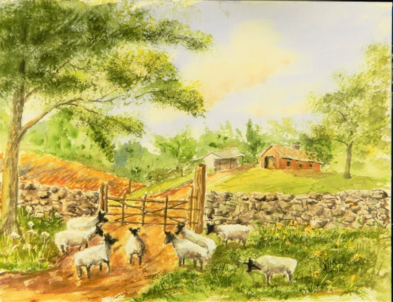 SHEEP PAINTING  Farm Painting  Barn Painting