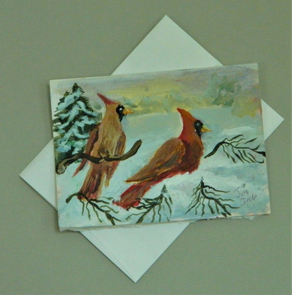 RED CARDINALS in the Snow Hand painted greeting card