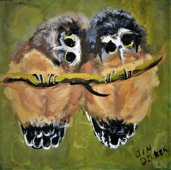 BABY OWLS , Children's Art, Loving , Nursery Art ,