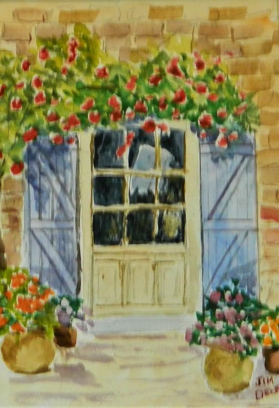 Rose Covered Doorway Painting Original watercolor painting