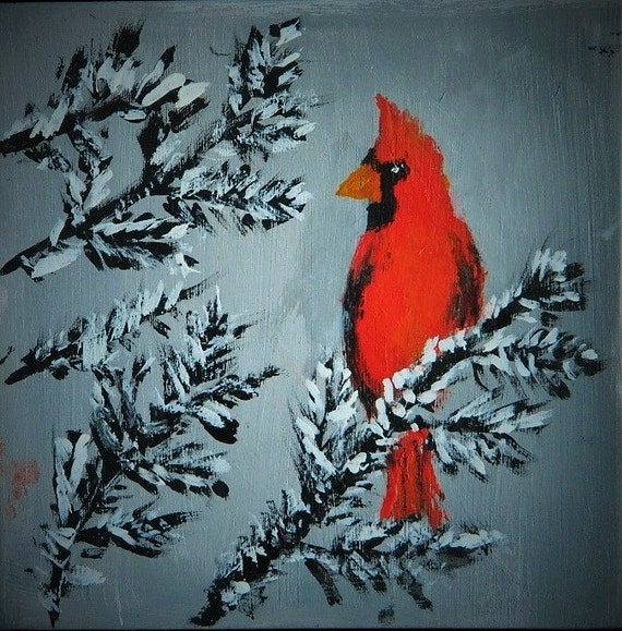 RED CARDINAL  Originel Painting, Bird Art, Winter Landscape, Fir Trees, Maine Art, Red Cardinal In Snow