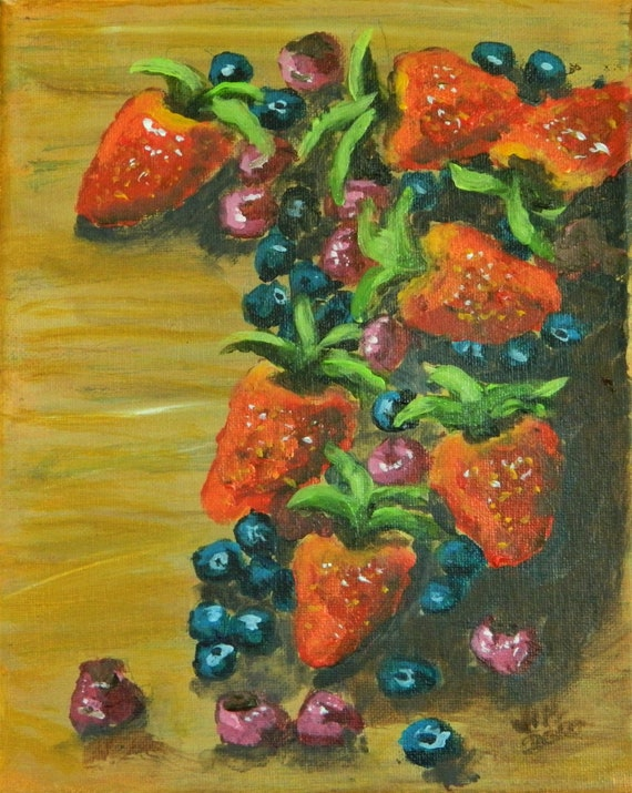 BERRIES BERRIES BERRIES  Original Painting on Canvas 8 x 10 ready to hang Free Shipping