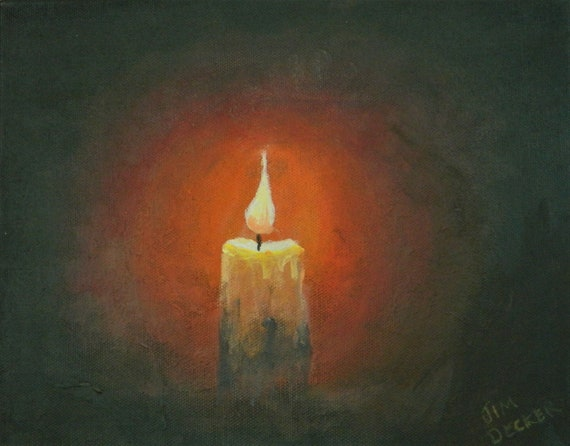 CANDLE LIGHT  Still life , Warm Painting , 8 x 10  Free Shipping Jim Decker
