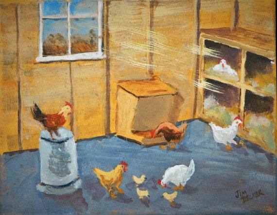 CHICKEN COOP Original painted on canvas 8 x 10 Ready to Hang by Jim Decker Free Shipping