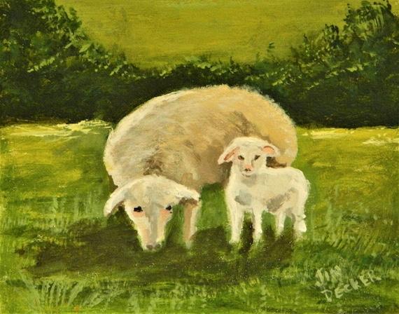 SHEEP PAINTING  , Ewe With Her Lamb Sheep Farm
