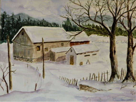 WINTER FARM  , Red Barn Winter Landscape watercolor 16 x 20 by Jim Decker Free Shipping