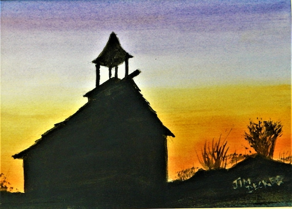 COUNTRY CHURCH , Sunset Original Watercolor Painting 11 x 14 Free Shipping
