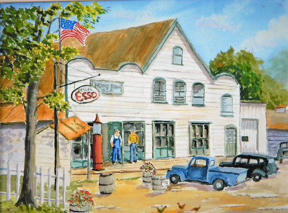 COUNTRY STORE , Old Gas Pumps , Esso Gas, Old cars Original watercolor painting by Jim Decker 16 x 20 Free Shipping