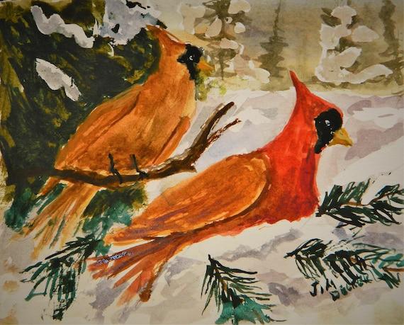 RED CARDINALS , Cardinal In The Snow  Winter landscape Maine Art Jim Decker