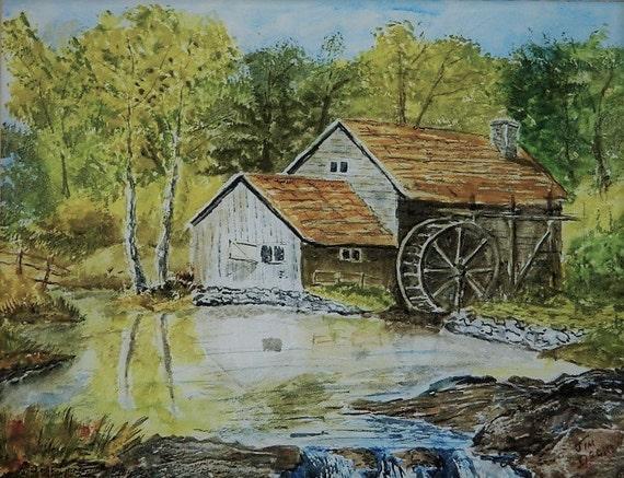 MILL POND PAINTING  Original Watercolor Painting Water Wheel Maine Art