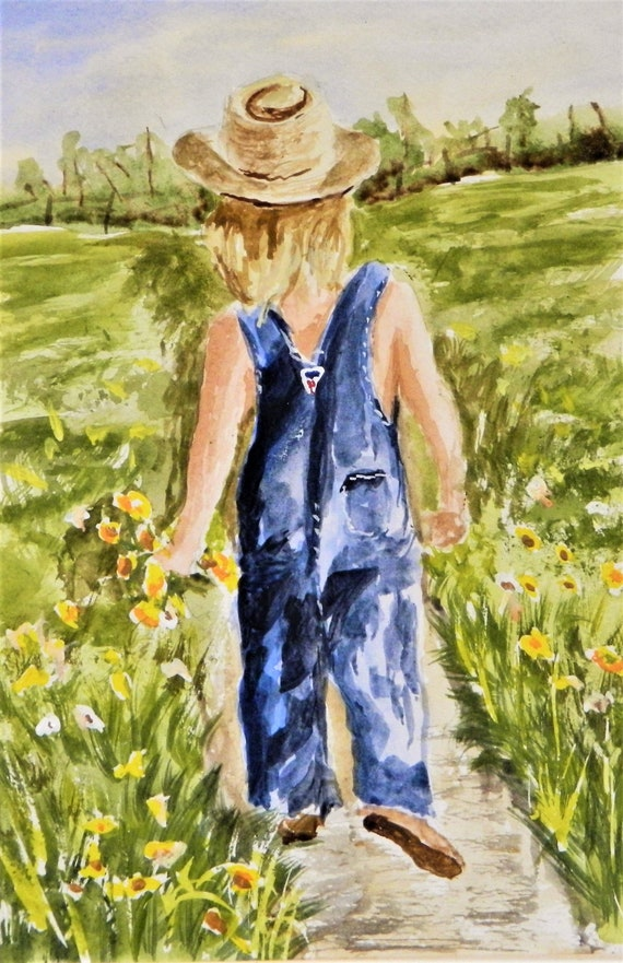 COUNTRY GIRL Flowers, Straw Hat Girl Picking Flowers