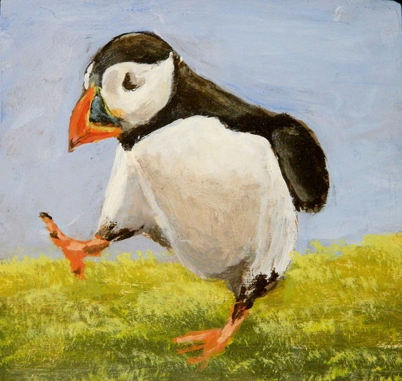 PUFFIN , Sea Bird, Brightly Colored , Mini, Easel Painting