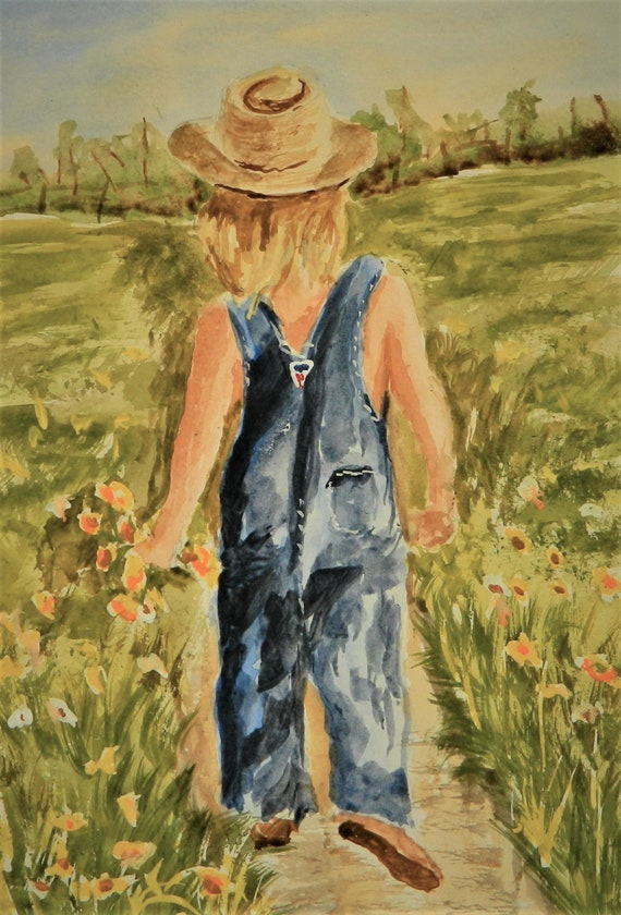 Country Girl  Girl Picking Flowers