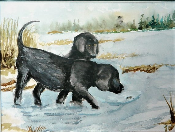 BLACK LAB PAINTING  Duck Hunting  Dog Jim Decker