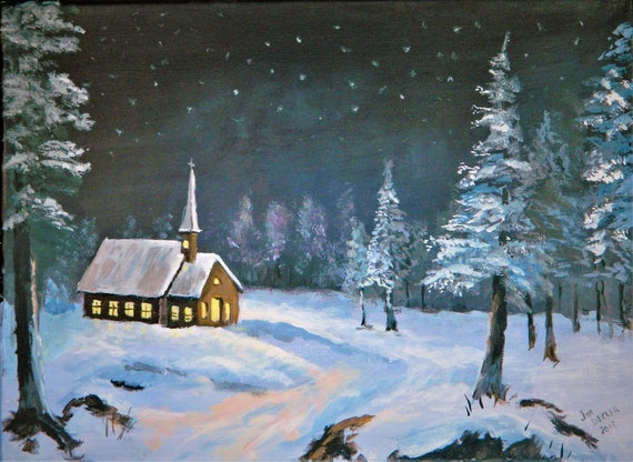 PEACE In THE VALLEY   Country Church , Original Painting 12 x 16 ready to hang by Jim Decker Free Shipping