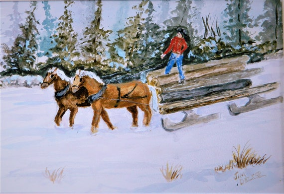 DRAFT HORSES Logging With Horses Original Watercolor 12 x 16 Free Shipping