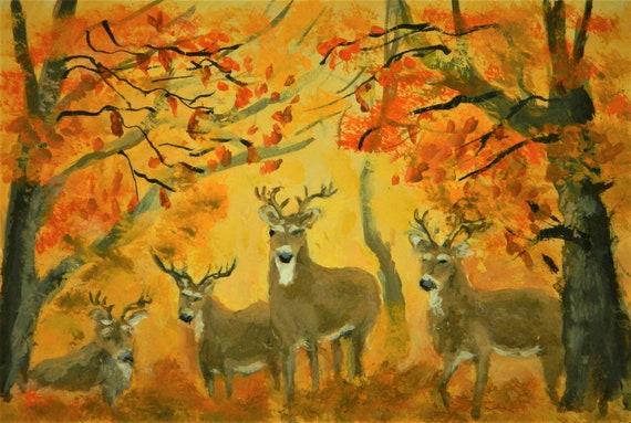 DEER PAINTING  { Four Bucks } Wildlife  Original Watercolor by Jim Decker